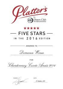 Dorrance Wines Certificate